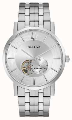Bulova Mens automatico | bracciale in acciaio inossidabile quadrante argentato 96A238