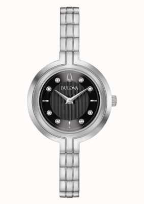 Bulova | rapsodia | donne | braccialetto d'acciaio | quadrante nero | 96P215