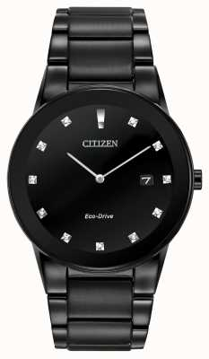Citizen | uomo axiom eco-drive | quadrante nero diamante | braccialetto nero AU1065-58G