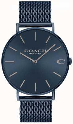 Coach Charles da uomo | bracciale in maglia d'acciaio blu ip | quadrante blu 14602146