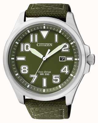 Citizen | eco-drive per uomo | cinturino in nylon verde | quadrante verde | AW1410-32X