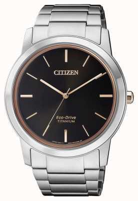 Citizen | mens eco-drive titanium wr50 | quadrante nero | braccialetto d'argento AW2024-81E