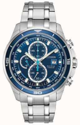 Citizen | mens eco-drive titanium wr100 | quadrante cronografo blu | CA0349-51L
