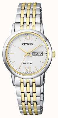 Citizen | womens eco-drive | bracciale bicolore | quadrante argento | EW3254-87A