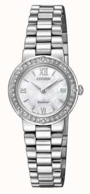 Citizen | womens eco-drive | cristallo set caso | braccialetto d'argento | EW9820-89D