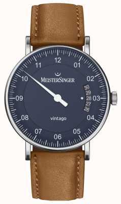 MeisterSinger | mens vintago | automatico | pelle marrone | quadrante blu VT908