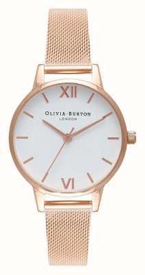Olivia Burton | donne | bracciale in maglia oro rosa | quadrante bianco | OB16MDW01