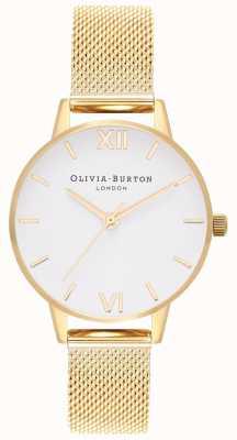 Olivia Burton | donne | quadrante bianco | bracciale a maglie d'oro | OB16MDW35