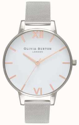 Olivia Burton | donne | quadrante bianco | braccialetto a maglie d'argento | OB16BD97