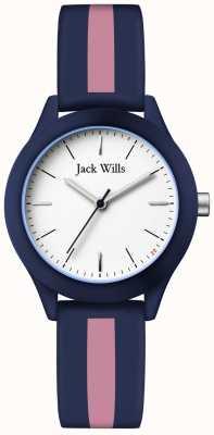 Jack Wills | unione delle donne | quadrante bianco | cinturino in silicone blu marino / rosa | JW008BLPST