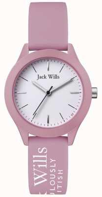 Jack Wills | unione delle donne | quadrante bianco | cinturino in silicone rosa | JW008PKWH