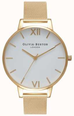 Olivia Burton | donne | quadrante bianco | bracciale a maglie d'oro | OB15BD84