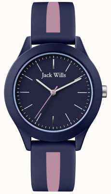 Jack Wills | unione degli uomini | quadrante blu marino | cinturino in silicone rosa / blu | JW009BLPST