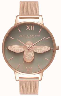 Olivia Burton | donne | Ape 3d | bracciale in maglia oro rosa | quadrante grigio | OB16AM117