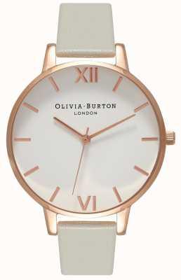 Olivia Burton | donne | quadrante bianco | cinturino in pelle grigia | OB15BDW02