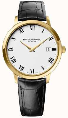 Raymond Weil | mens toccata | cassa d'oro | cinturino in pelle nera | 5588-PC-00300