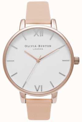 Olivia Burton | donne | grande quadrante bianco | cinturino in pelle color pesca nudo | OB16BDW21