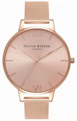 Olivia Burton | donne | grande quadrante sunray | bracciale in maglia oro rosa | OB16BD102