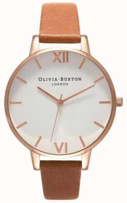 Olivia Burton | donne | grande quadrante bianco | cinturino in pelle marrone | OB16BDW19