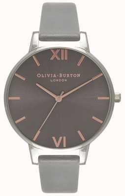 Olivia Burton | donne | grande quadrante grigio | cinturino in pelle grigia | OB16BD90