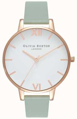 Olivia Burton | donne | grande quadrante bianco | cinturino in pelle menta | OB16BDW27