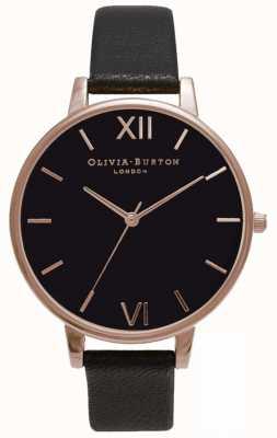 Olivia Burton   donne   quadrante nero   cinturino in pelle nera   OB15BD66