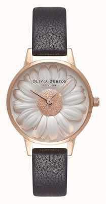 Olivia Burton | donne | Quadrante di margherita 3d | cinturino in pelle nera | OB16FS97