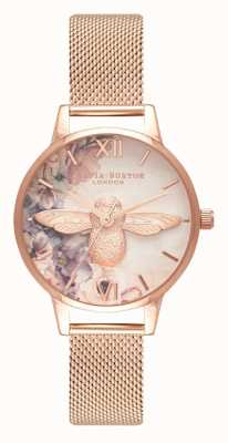 Olivia Burton | donne | ape floreale dell'acquerello | maglia oro rosa | OB16PP40