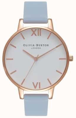 Olivia Burton | donne | grande quadrante bianco | cinturino in gesso blu | OB16BDW18