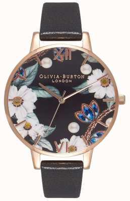 Olivia Burton | donne | fiori ingioiellati | cinturino in pelle nera | OB16BF04