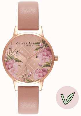 Olivia Burton | donne | quadrante floreale | cinturino in sabbia rosa vegano | OB16VE02