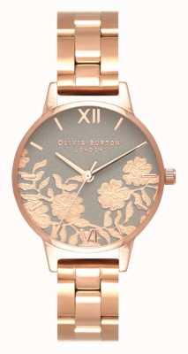 Olivia Burton | donne | quadrante con dettagli in pizzo | bracciale in oro rosa | OB16MV88