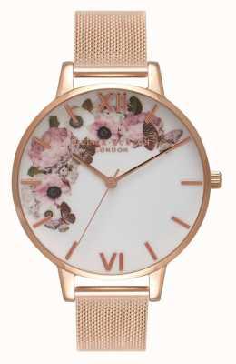 Olivia Burton | donne | quadrante floreale con firma | bracciale in maglia oro rosa | OB16WG18