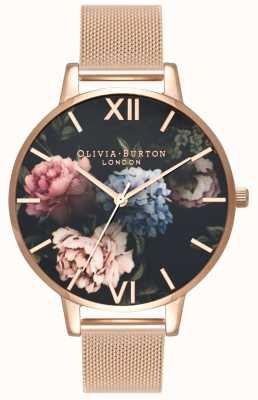 Olivia Burton | donne | quadrante mazzetto scuro | bracciale in maglia oro rosa | OB16WG52