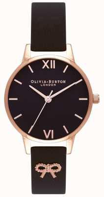Olivia Burton | delle donne | quadrante nero | cinturino con fiocco vintage nero | OB16VB07