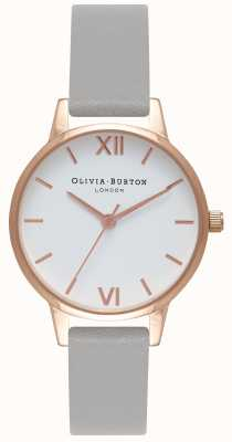 Olivia Burton | donne | quadrante bianco | cinturino in pelle grigia | OB16MDW05