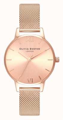 Olivia Burton | donne | midi | quadrante sunray | bracciale in maglia oro rosa | OB16MD84