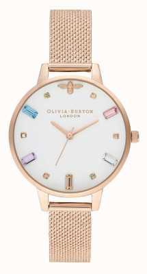 Olivia Burton | donne | ape arcobaleno | bracciale boucle in maglia oro rosa | OB16RB15