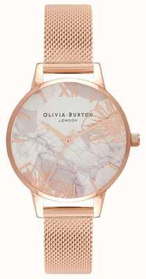 Olivia Burton | donne | fiori astratti | bracciale in maglia oro rosa | OB16VM11