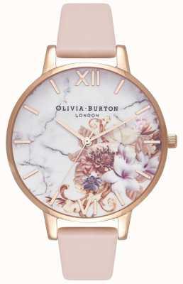 Olivia Burton | donne | fiori di marmo | cinturino in pelle color pesca nudo | OB16CS12