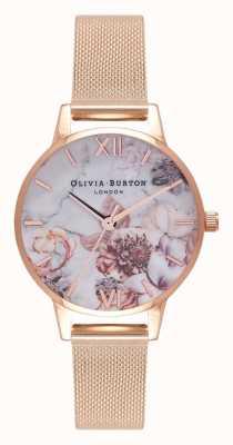Olivia Burton | donne | fiori di marmo | bracciale in maglia oro rosa | OB16CS06