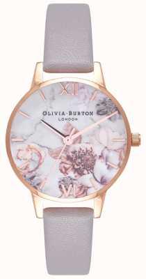 Olivia Burton | donne | fiori di marmo | cinturino in pelle color lilla grigio | OB16CS14