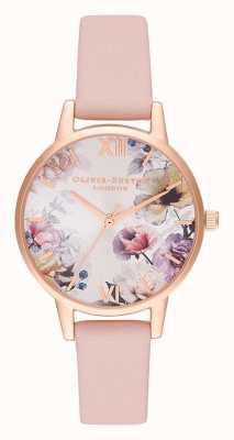 Olivia Burton | donne | fiori di luce solare | cinturino in pelle rosa polveroso | OB16EG115