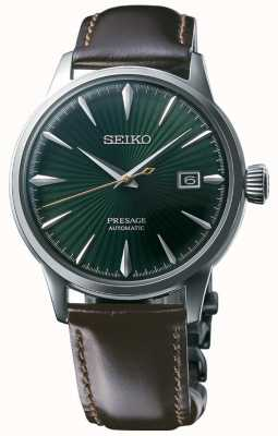 "Seiko Cinturino in pelle marrone con quadrante verde automatico ""cocktail time"" SRPD37J1"