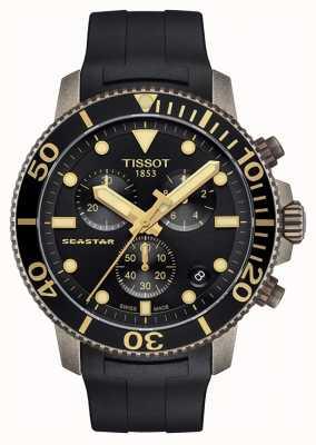 Tissot | mens seastar | quadrante nero cronografo | cinturino in caucciù nero T1204173705101