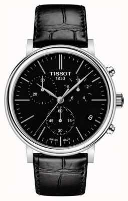 Tissot | mens carson | quadrante nero cronografo | cinturino in pelle nera T1224171605100