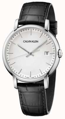 Calvin Klein | mens stabilito | cinturino in pelle nera | quadrante bianco | K9H211C6