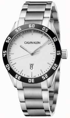 Calvin Klein | competere | uomo | bracciale in acciaio inossidabile quadrante bianco | K9R31C46