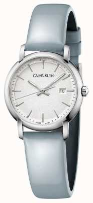 Calvin Klein | donne stabilite | cinturino in pelle blu | quadrante argento | K9H231V6