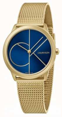 Calvin Klein Minimo | bracciale a maglie d'oro | quadrante blu | K3M5255N